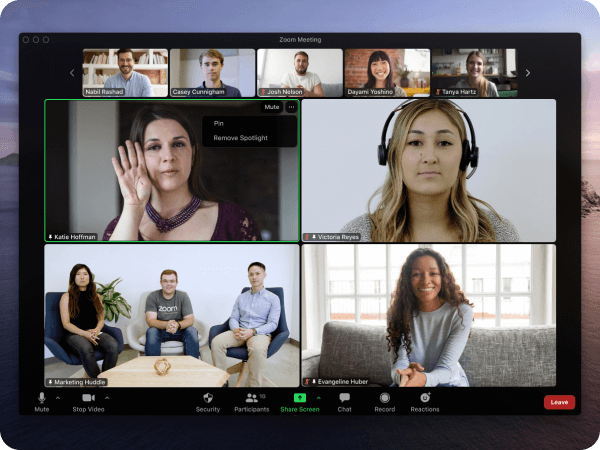 Screenshot of Zoom Multi-Spotlight with a sign language interpreter