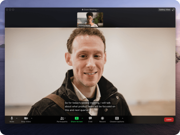 Screenshot of Zoom Closed Captining